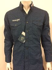 NWT Wrangler Blue Logo Rodeo Western Embroidered Long Sleeve.(XL) Shirt