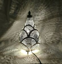 BR430 Silver Plated Oriental Living Room Home Decor Filigrain Night Table Lamp