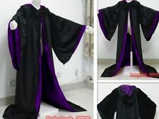 New Black/Purple Velvet Hooded Cape Halloween Hooded Cloak Wizard Robes Costumes