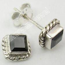 100% NEW Handmade 1 Pair ! 925 Silver BLACK ONYX BEAUTIFUL Studs Earrings 0.7 CM
