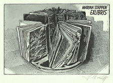 Jens Rusch exlibris Marina Stappen Books on Film Etching c3 sign Radierung