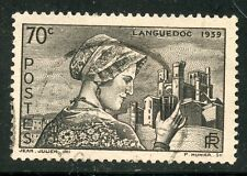 STAMP / TIMBRE FRANCE OBLITERE N° 448 LANGUECIENNE CATHEDRALE DE BEZIERS