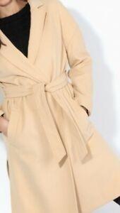 Womens Ladies Drop-shoulder Belted Camel Coat New UK Sizes 6-8-12 EUR 34-36-40
