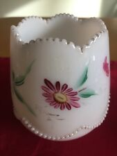 """Heisey Beaded Swag Spooner Opal Milk Glass 4"""" tall  mom was antique collector"""