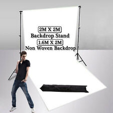 Photography Studio Lighting Support Backdrop Stand Kit +1.6x2m White Background