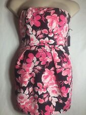 NWT Forever 21 Small Dress Floral Spring Easter Strapless Pink Roses Black A14