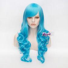 70CM Azurblau Stylish Cosplay Curly Perücke Gelockte wig Lolita Haare Halloween