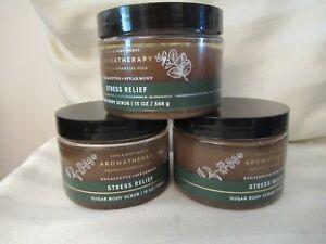 3 Aromatherapy Stress Rel Eucalyptus Spearmint Sugar Body Scrub Bath & Bodywork