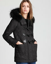 NWT BURBERRY BRIT Truebridge Black Duffle Quilt Coat Jacket/Real Fur Trim Size S