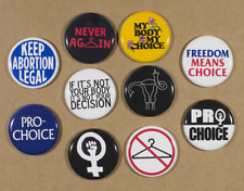 """Pro-choice Buttons X10 Pins 1.25"""" my body my choice keep abortion legal feminist"""