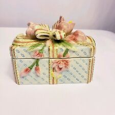 Fitz and Floyd Essentials Handcrafted Ceramic Jewelry Trinket Bow Box Rectangle