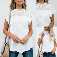 UK Fashion Women Casual Sleeveless Top Vest Blouse Ladies Summer Shirt Lace Top
