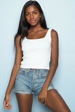 Brandy Melville White ribbed stretchy cropped square neck hannah tank top NWT