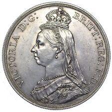 1887 CROWN - VICTORIA BRITISH SILVER COIN - V NICE