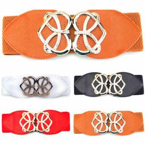 Women Retro adjustable Flower Elastic Stretch Buckle Wide Waist Belt Waistbands