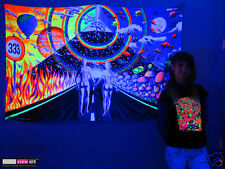 COUPLE PYRAMID Psychedelic Art UV Blacklight Tapestry Wall Hanging Backdrop Deco