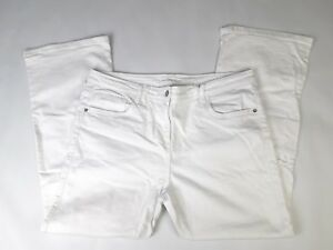 Marks & Spencers Sz 20 medium ladies white jeans Trousers (B365)
