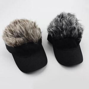 Men Women Flair Hair Sun Visor Cap with Fake Hair Wig Baseball Peaked Hat Cap HS