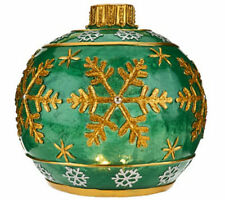 QVC Kringle Express Glazed Resin Ornament Battery Operated Candle Luminary Green