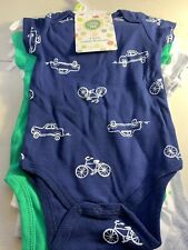 LITTLE ME CUDDLY BODYSUITS 4 PIECE SET NEW 3 MONTHS CARS AND BIKES BLUE GREEN