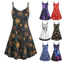 Womens Cami Swing Skater Fashion Sun Stars Moon Floaty Flared Strappy Dress
