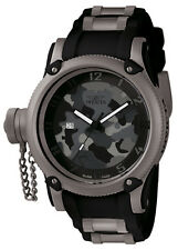 New Mens Invicta 1202 Russian Diver Swiss Quartz 52mm Black/Grey Watch