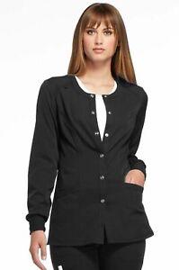 "Elle Scrubs Style #300 Crew-Neck Snap Front Scrub Jacket in ""Black"" Size S"