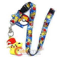 Pokemon Lanyard Keychain ID Holder Pokeball Prints with Pikachu Hat PVC Dangle