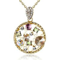 Leafael Swarovski Crystal Pink Yellow Flower Circle Necklace, 14K Gold Plated