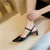 Womens Chic Leather Pointed Toe Ankle Strap Slingback Mid Heel Sandals Shoes BGH