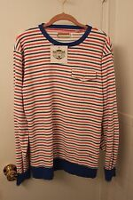 SLVDR MENDS NEW BLUE RED AND WHITE STRIPED SWEATSHIRT MED FRONT POCKET SWEATER