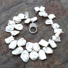 15x22MM natural White Keshi Pearl 18'' Necklace