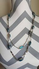 Coldwater Creek Silver Double Chain Necklace with Aqua Stones