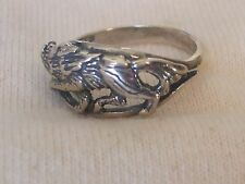 Native American Sterling Silver Wolf Ring Size 7.75