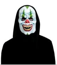 Cackles the Clown Adult Foam Face Black Hooded Scary Mask Halloween New