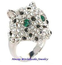 BEAUTIFULLY BOLD EMERALD GREEN EYED BLACK & WHITE PANTHER RING 5.50CT