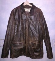 Thick, soft, distressed leather coat by Oakwood.