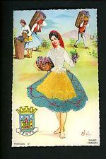 Embroidered clothing postcard Artist Elsi Gumier, Portugal Vindimas woman #17 1