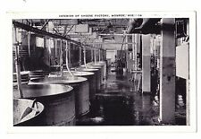 Wisconsin postcard Monroe, interior of cheese factory