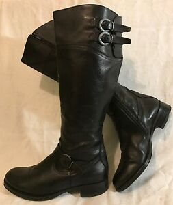 Aldo Black Knee High Leather Beautiful Boots Size 37 (810v)