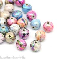 GS: 300Stk Mix Mehrfarbig Kugeln Acryl Floral Perlen Beads 8mm
