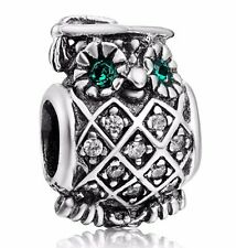 Sterling 925 Silver Crystals Owl Style European Bead Charm For Handmade Bracelet