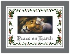 20 CHRISTMAS Lion LAMB PEACE on Earth Greeting Flat CARDS Envelopes Seals