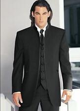 Black Men Suits Round Collar Formal Wedding Groom Tuxedos Best Man Prom Suit