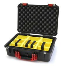 Black and Red Pelican 1500 case with yellow dividers.