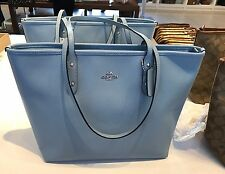 NWT Coach Crossgrain Leather City Zip Tote Handbag  F57522- Cornflower