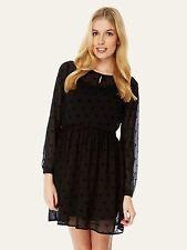 Yumi Women's Flocked Bird Print Dress Size 10 BNWT RRP £48 Black Uk Freepost