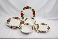 Christmas Poinsettia and Holly Plates and Bowls Set of 7
