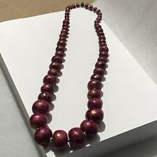 Chunky Pink Black Wooden Beaded Graduated Statement Long 80's Style necklace