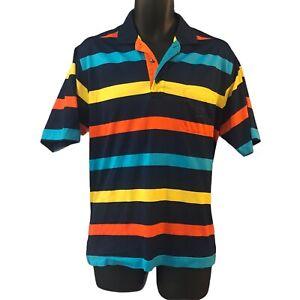 Paul And Shark Yachting Men's Polo Shirt Medium Blue Yellow Red Pocket Logo